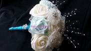 Frozen Inspired Bouquet, Created Using Soft Touch Foam Flowers, Beads, Chiffon Handcrafted Flowers With Brooch Centres.